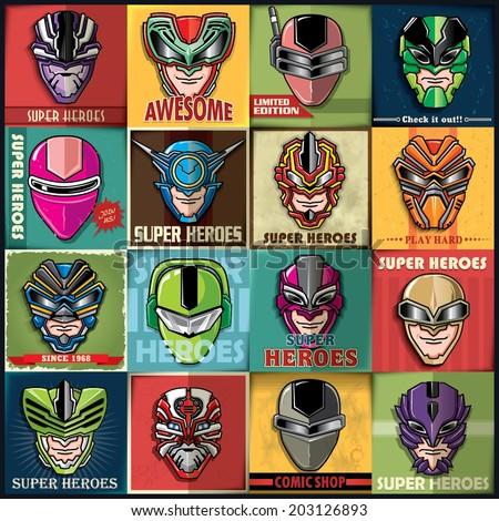 Vintage Super Heroes poster set design - stock vector