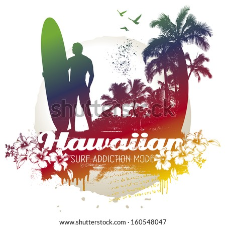 vintage surf scene with rider and palms - stock vector