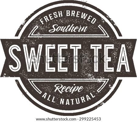 Vintage Sweet Tea Menu Stamp or Restaurant Sign - stock vector