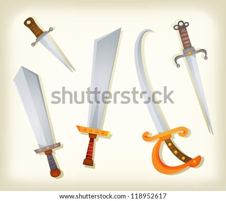Vintage Swords, Knifes, broadsword And Saber Set/ Illustration of a vintage set of cartoon swords, broadsword, saber, knifes, and other old cold steel weapons equipment for knight and pirates - stock vector