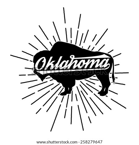 Vintage t-shirt American Bison state Oklahoma  - stock vector