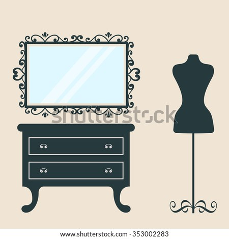 vintage table and mirror and mannequin - stock vector