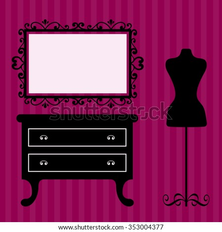 vintage table and mirror and mannequin on the background - stock vector