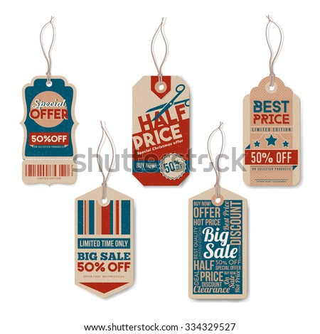 Vintage tags set with string, textured realistic paper, retail, sale and discount concept - stock vector