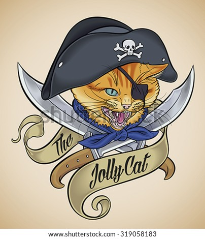 Vintage tattoo design of a cat's head, which wears a pirate hat, crossed with two blades and wrapped with a banner. Editable vector illustration. - stock vector