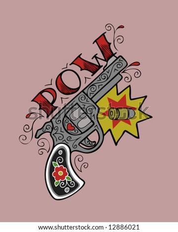 vintage tattoo gun - stock vector
