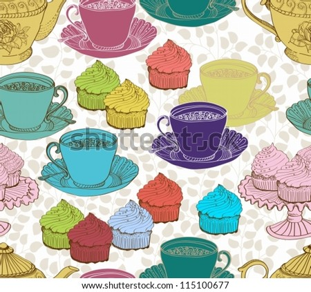 vintage tea background. seamless pattern for design, vector - stock vector