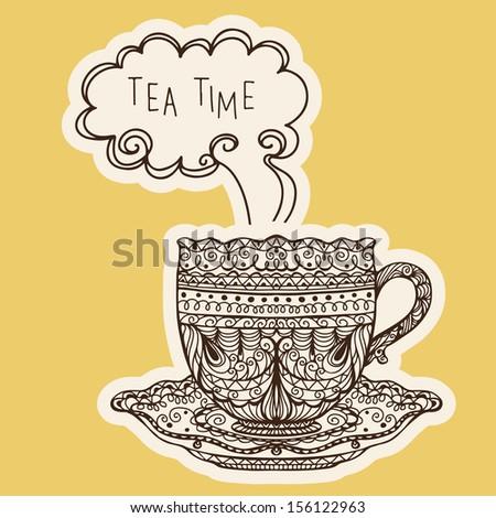 Vintage tea cup icon - vector  - stock vector