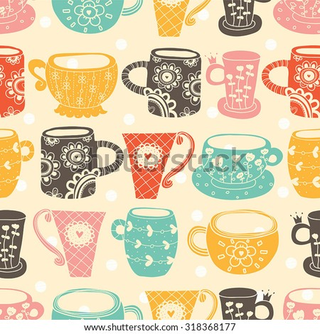 Vintage tea porcelain. Vector seamless pattern. Seamless pattern can be used for wallpaper, pattern fills, web page background, surface textures. - stock vector