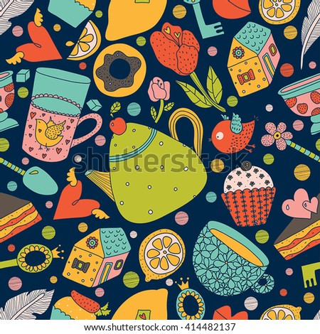 Vintage teatime porcelain. Seamless pattern can be used for wallpaper, pattern fills, web page background, surface textures. - stock vector