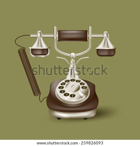 Vintage telephone on green - stock vector