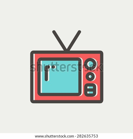 Vintage television icon thin line for web and mobile, modern minimalistic flat design. Vector icon with dark grey outline and offset colour on light grey background. - stock vector