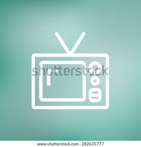 Vintage television icon thin line for web and mobile, modern minimalistic flat design. Vector white icon on gradient mesh background. - stock vector