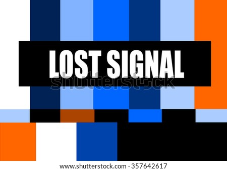 vintage television test pattern with lost signal message - stock vector