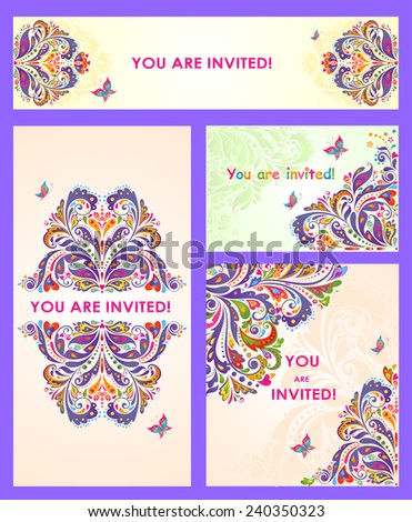 Vintage template for wedding invitation - stock vector