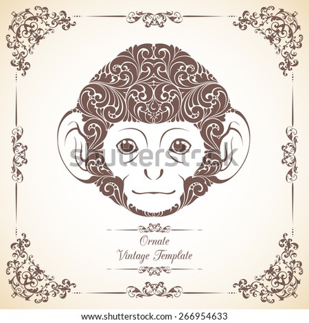 Vintage template with ornament and decorative monkey. Symbol of 2016 - stock vector