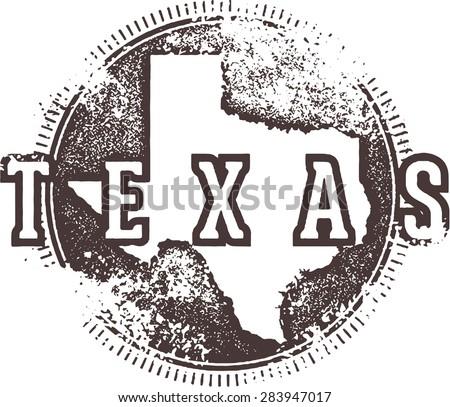 Vintage Texas USA State Stamp - stock vector