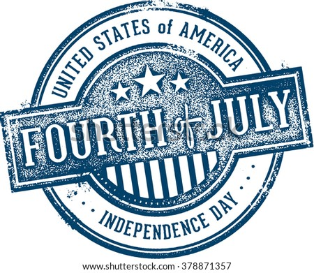 Vintage 4th of July Independence Day USA Stamp - stock vector