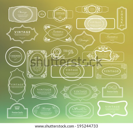 Vintage thin line labels set can be used for invitation, congratulation or website - stock vector