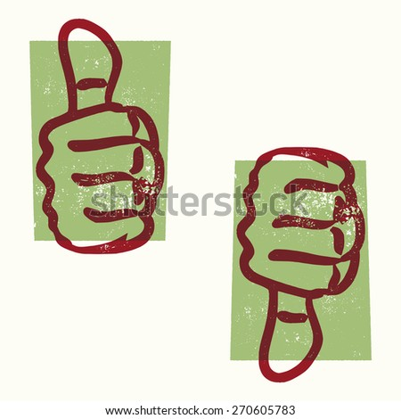 Vintage Thumbs Up, Thumbs Down Letterpress Style Vector Design Elements - stock vector
