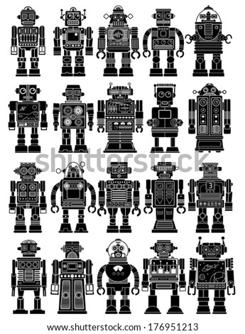 Vintage Tin Toy Robot Collection - stock vector