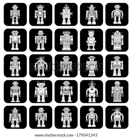 Vintage Tin Toy Robot Icons in Black & White - stock vector