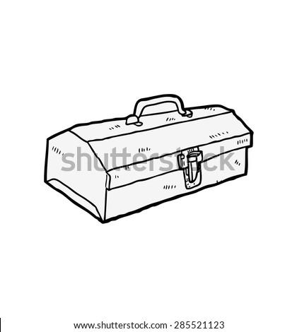 vintage toolbox - stock vector