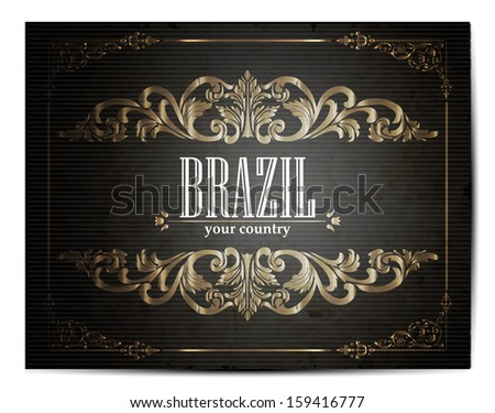 Vintage Touristic Greeting Card - Brazil - Vector EPS10. - stock vector
