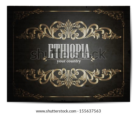 Vintage Touristic Greeting Card -Ethiopia- Vector EPS10.  - stock vector