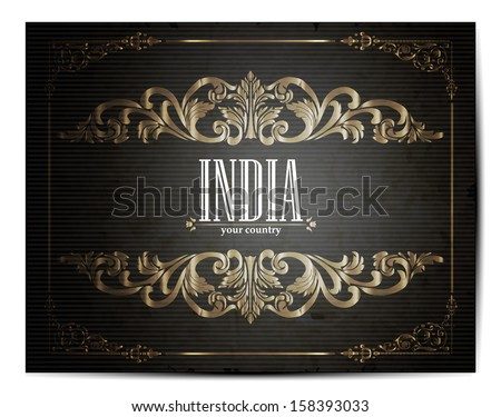 Vintage Touristic Greeting Card -India - Vector EPS10.  - stock vector