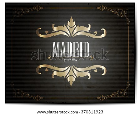 Vintage Touristic Greeting Card -Madrid- Vector - stock vector