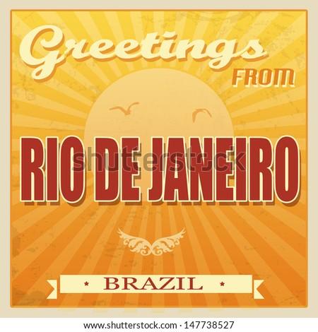 Vintage Touristic Greeting Card - Rio de Janeiro, Brazil, vector illustration - stock vector