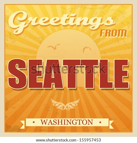 Vintage Touristic Greeting Card - Seattle, Washington, vector illustration - stock vector