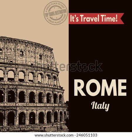 Vintage touristic poster with Rome in vintage style, vector illustration  - stock vector