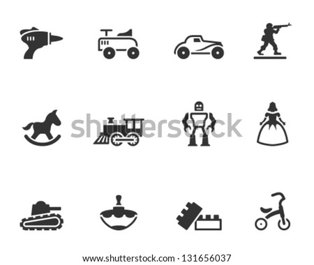 Vintage toy icons in single color - stock vector