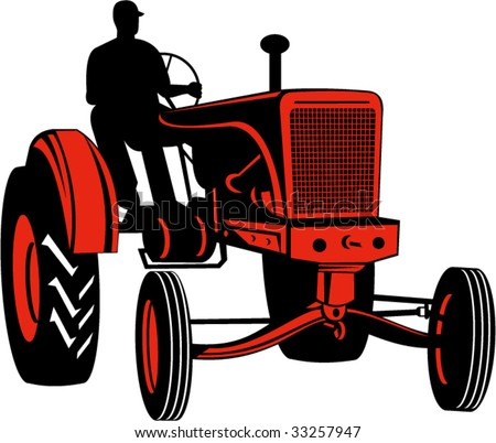 Vintage tractor - stock vector