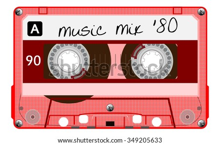 Vintage transparent plastic audio cassette. Red musical cassette tape with text - music mix 80, old technology, realistic retro design. vector art image illustration isolated on white background eps10 - stock vector