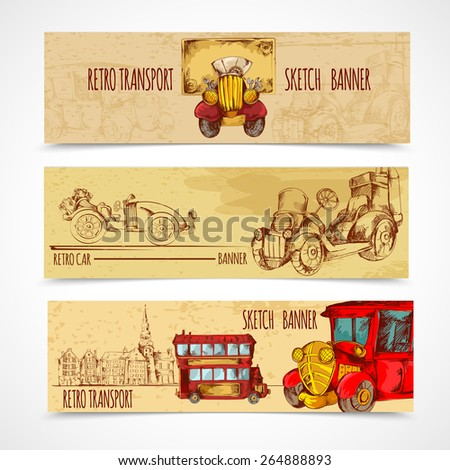 Vintage transport retro cars horizontal hand drawn banners set isolated vector illustration - stock vector