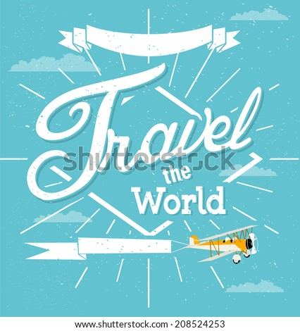 Vintage travel background - stock vector