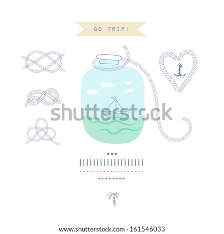 Vintage travel card. Vector illustration of boat in the bottle - stock vector