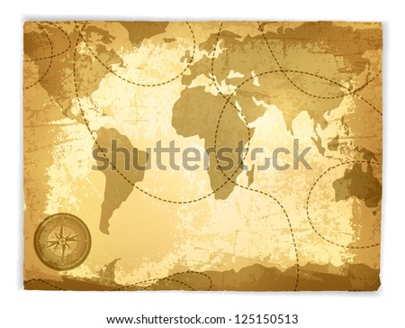 Vintage Travel Manuscript With Map and Compass Over White Background - stock vector