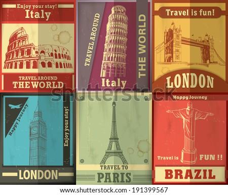 Vintage Travel set poster design - stock vector
