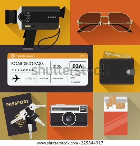Vintage travel/tourism set - stock vector