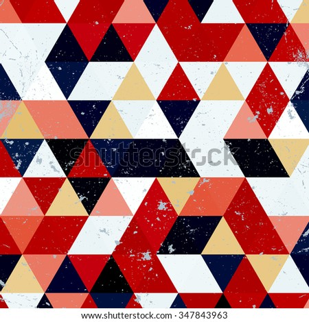 Vintage triangle pattern.Geometric hipster retro background with place for your text. Retro triangle background. Colorful-mosaic-banner - stock vector