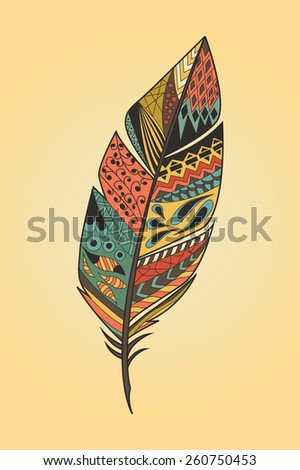 Vintage tribal ethnic hand drawn colorful feather, vector illustration - stock vector