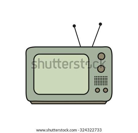 vintage TV icon  - stock vector
