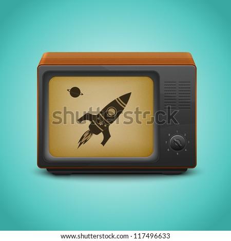 Vintage tv set on retro blue background. - stock vector
