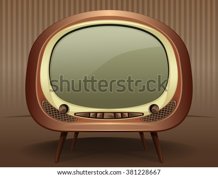 Vintage TV. Vintage television in the style of the 50s - 60s. Old TV. Vector Retro TV on a vintage background. - stock vector