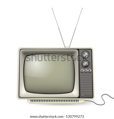 Vintage TV with antenna and wire - stock vector