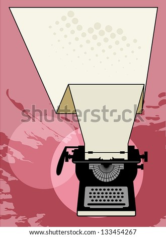 Vintage typewriter abstract, vector illustration - stock vector